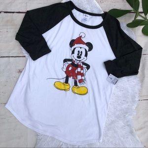 Disney Mickey Mouse Christmas Baseball T-shirt XL